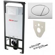 AlcaPlast Комплект 4 в 1: система инсталляции для подвесного унитаза Sadromodul A101/1200 + кнопка белая + звукоизоляция, A101/1200, 6935.00 р., A101/1200, AlcaPlast, Унитаз+инсталляция