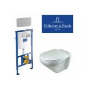 Комплект 4 в 1: Унитаз Villeroy&Boch Omnia Classic+кнопка Villeroy & Boch ViConnect, хром+инсталляция Villeroy & Boch R-STYLE 9224 6100, 4QU1E3UKV, 24469.00 р., 4QU1E3UKV, Villeroy&Boch, Унитаз+инсталляция