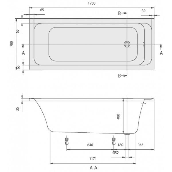Акриловая ванна Villeroy&Boch Omnia architectura 170x75 UBA170ARA2V-01+U99740000