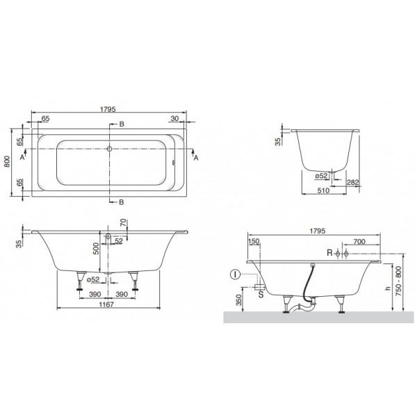 Акриловая ванна Villeroy&Boch Omnia architectura 180x80 UBA180ARA2V-01+U99740000