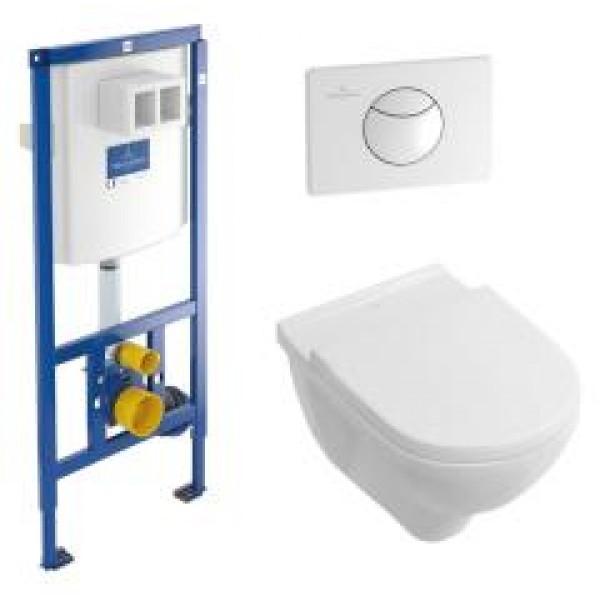 Villeroy&Boch Комплект O.novo 5660D101 унитаз, инсталляция, сиденье, кнопка