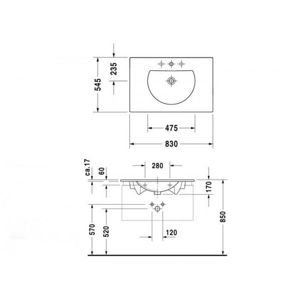 Duravit Раковина-столешница белая DARLING NEW 04998300001-WG