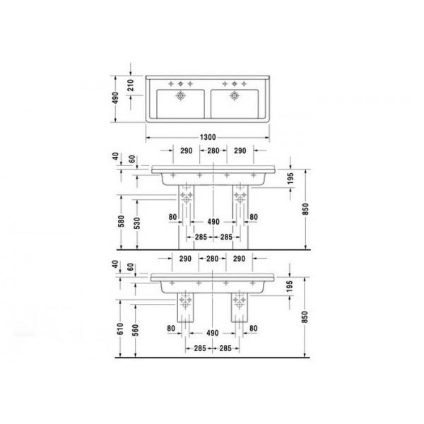 Duravit Раковина двойная накладная белая STARCK3 0332130000