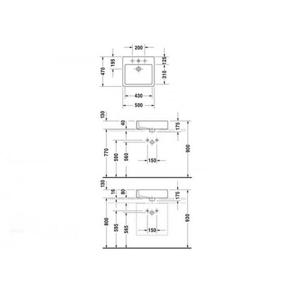 Duravit Раковина накладная VERO 04525000001-WG