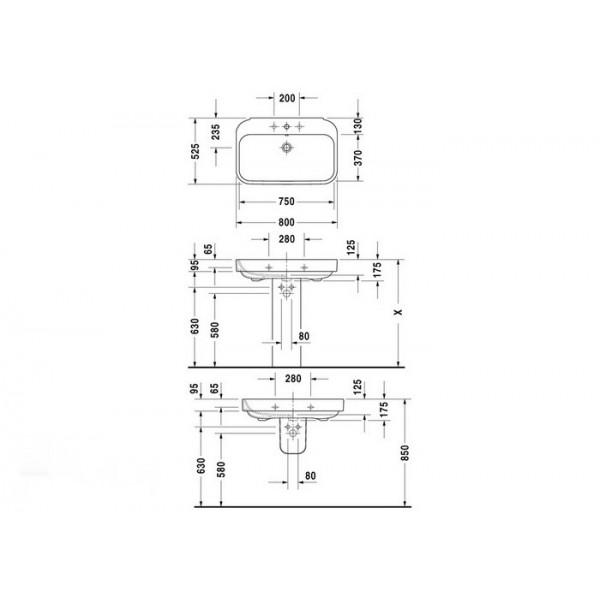 Duravit Раковина-столешница белая HAPPY D.2 23168000001-WG