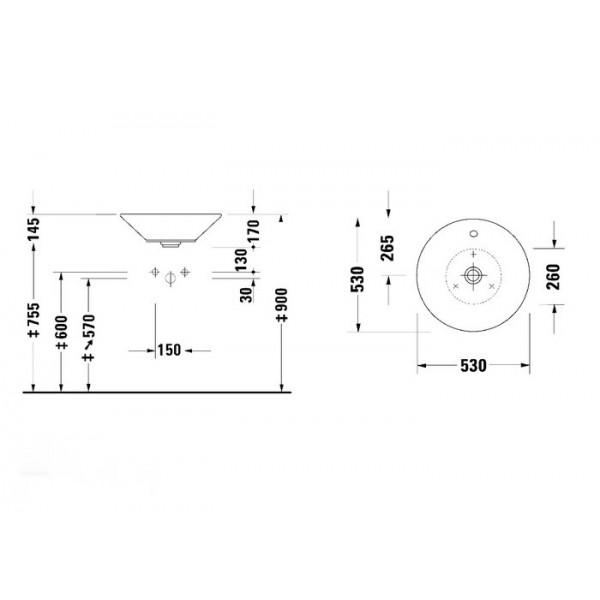 Duravit Раковина накладная для мебели STARCK 1 04085300001-WG