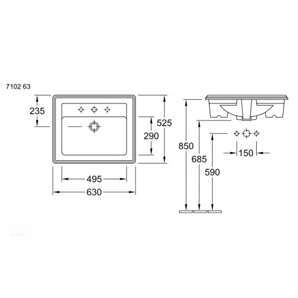 Villeroy&Boch Раковина для мебели накладная Hommage 7102 A1R1