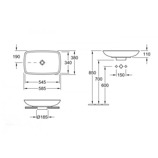 Villeroy&Boch Раковина для установки на столешницу Loop & Friends 5154 00R1