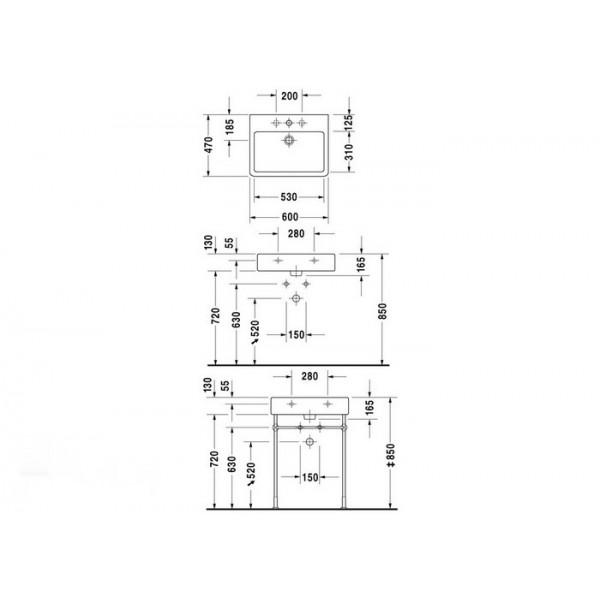 Duravit Раковина нешлифованная белая VERO 04546000601-WG