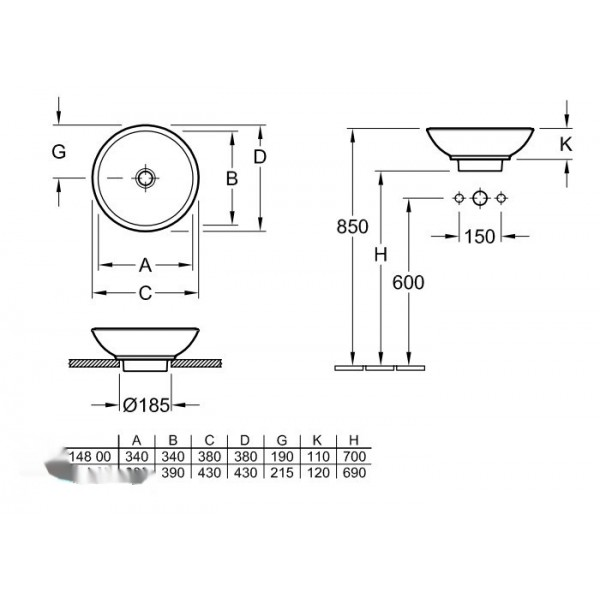 Villeroy&Boch Раковина для установки на столешницу Loop & Friends 5148 01R1