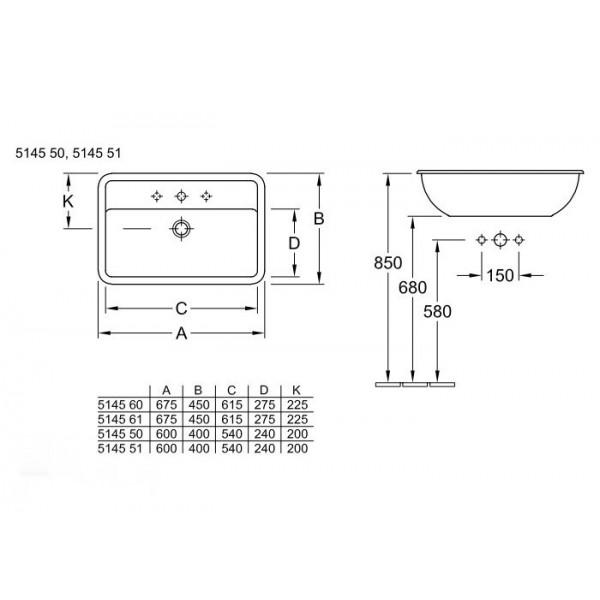 Villeroy&Boch Раковина для установки на столешницу Loop & Friends 5145 5001