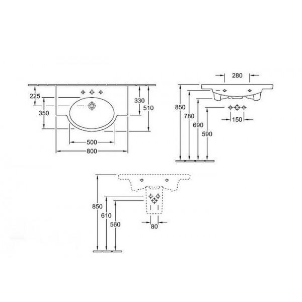 Villeroy&Boch Раковивна-столешница Variable 5152 8001