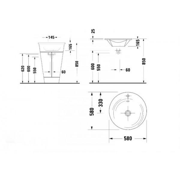 Duravit Раковина для мебели STARCK1 04065800001-WG