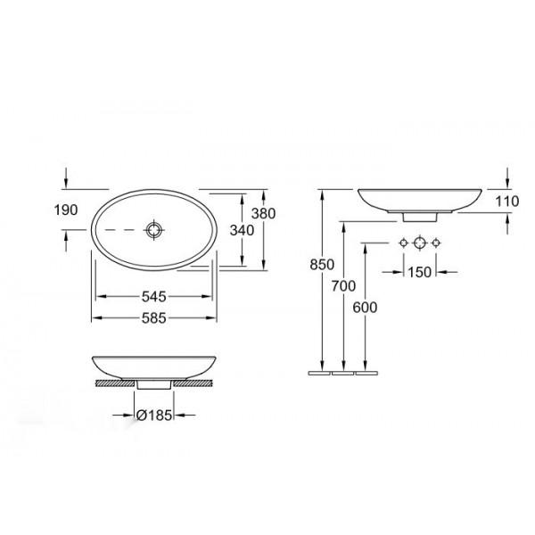 Villeroy&Boch Раковина для установки на столешницу Loop & Friends 5151 00R2