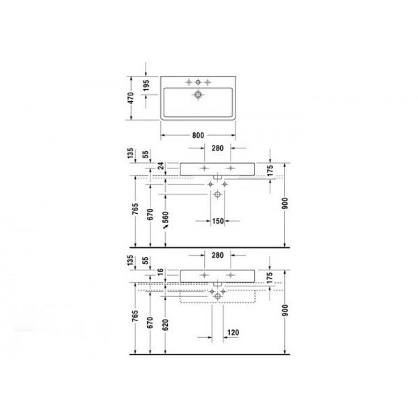 Duravit Раковина нешлифованная черная VERO 04548008001-WG
