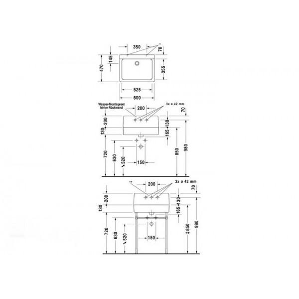 Duravit Раковина нешлифованная белая VERO 0453600000