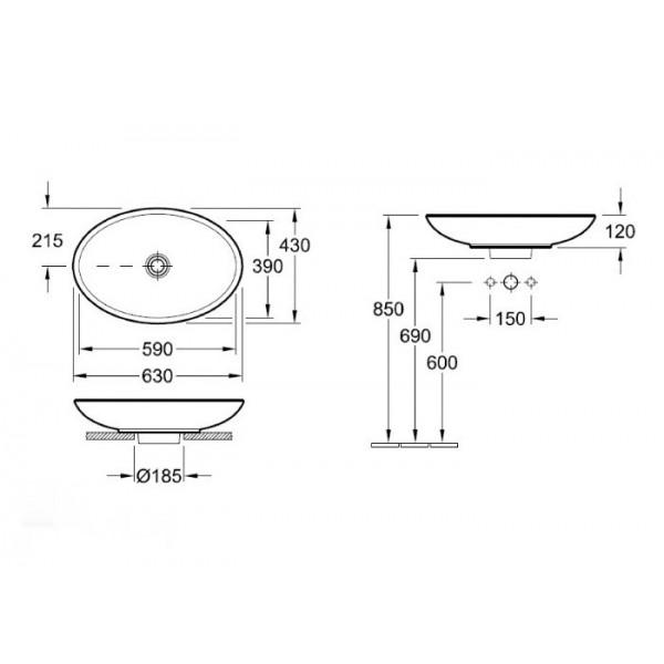 Villeroy&Boch Раковина для установки на столешницу Loop & Friends 5151 10R1