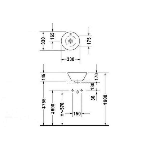 Duravit Раковина накладная для мебели белая STARCK1 04083300001-WG