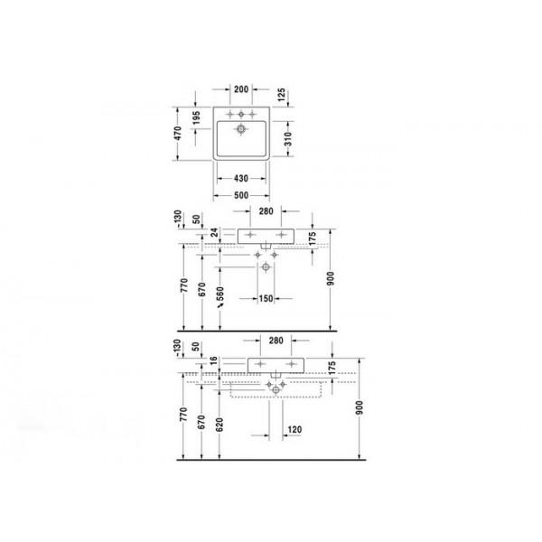 Duravit Раковина шлифованная белая VERO 04545000271-WG