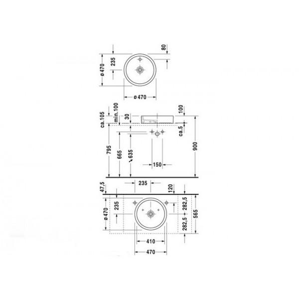Duravit Раковина наклонная STARCK1 0386470000