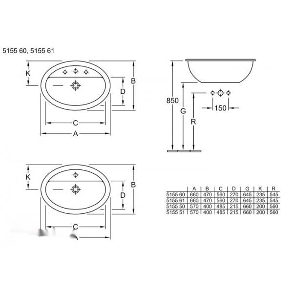 Villeroy&Boch Раковина накладная без перелива Loop&Friends 5155 6101