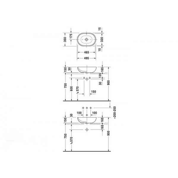 Duravit Раковина накладная FOSTER 03355000001-WG