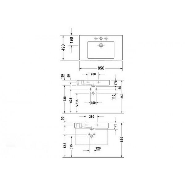 Duravit Раковина накладная VERO 03298500001-WG