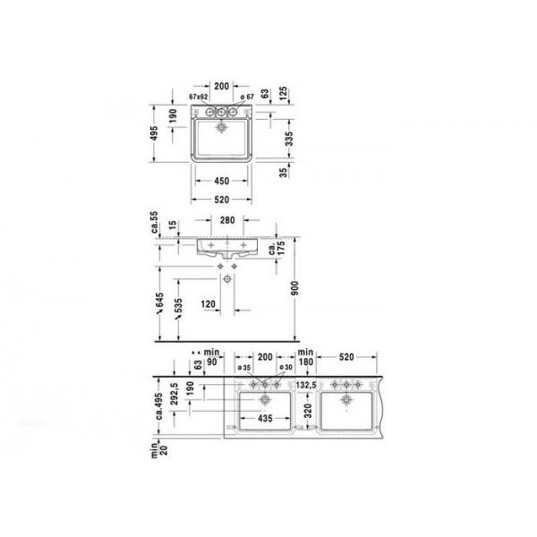 Duravit Раковина DURASTYLE 26315200301-WG