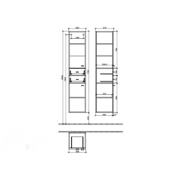 Villeroy&Boch Шкаф-пенал подвесной DX Central Line 9722 E2DH