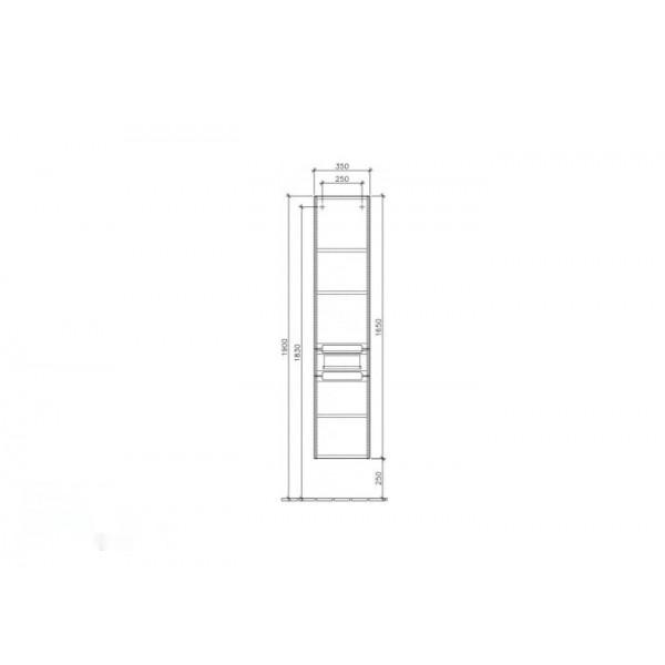 Villeroy&Boch Шкаф-пенал подвесной дуб графитовый Subway 2.0 A707 00FQ