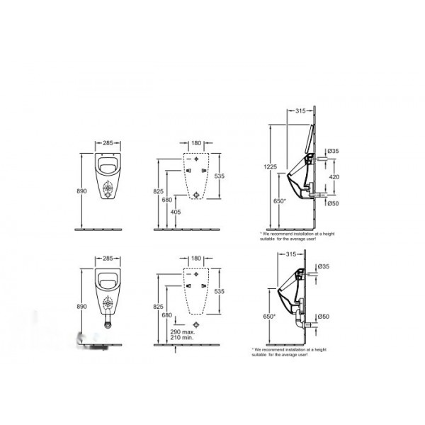 Villeroy&Boch Писсуар подвесной без крышки Subway 7513 0101