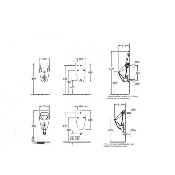 Villeroy&Boch Писсуар подвесной без крышки Subway 7513 0001