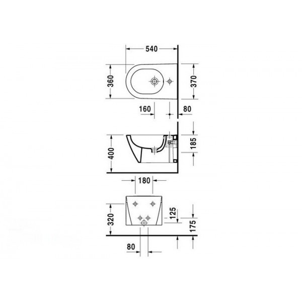 Duravit Биде подвесное STARCK2 22711500001-WG
