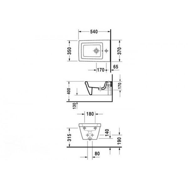 Duravit Биде подвесное 2nd FLOOR 22541500001-WG