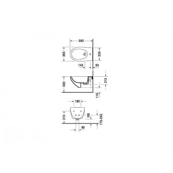 Duravit Биде подвесное белое ARCHITEC 25311500001-WG