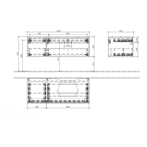 Villeroy&Boch Тумба под раковину подвесная CX Memento C264 R0FC