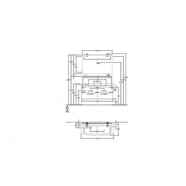 Villeroy&Boch Тумба под двойную раковину Sentique A852 00PN