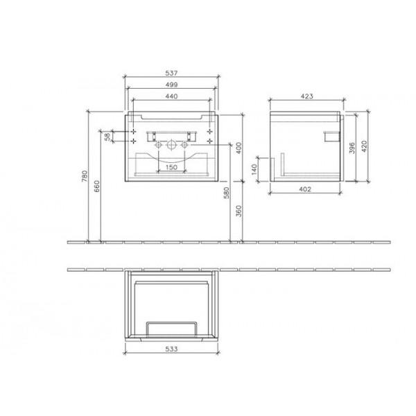 Villeroy&Boch Тумба под раковину подвесная Subway 2.0 A686 00FQ