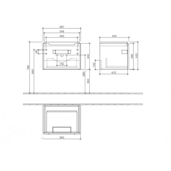 Villeroy&Boch Тумба под раковину подвесная Subway 2.0 A687 00FQ