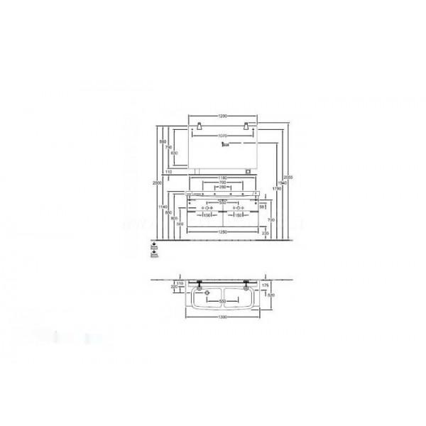 Villeroy&Boch Тумба с двойной раковиной Sentique A852 00PN+5126 D0R1