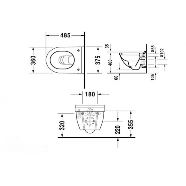 Duravit Унитаз подвесной компакт Starck 3 2227090000