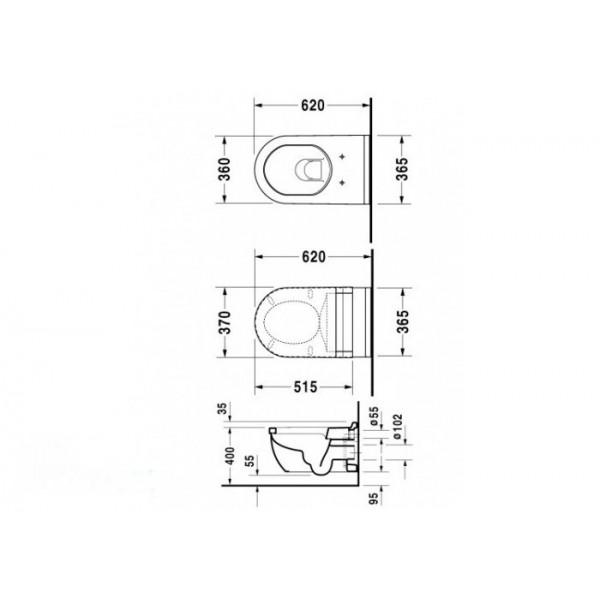 Duravit Унитаз подвесной STARCK 3 22260900001-WG