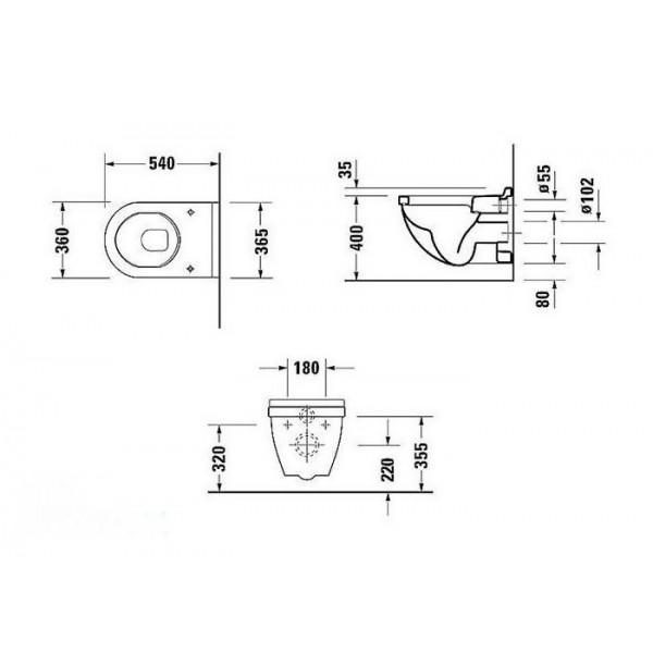 Комплект Подвесной унитаз Duravit 2200090000+0063890000