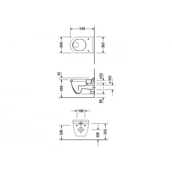 Duravit Унитаз подвесной белый STARCK3 22010900001-WG