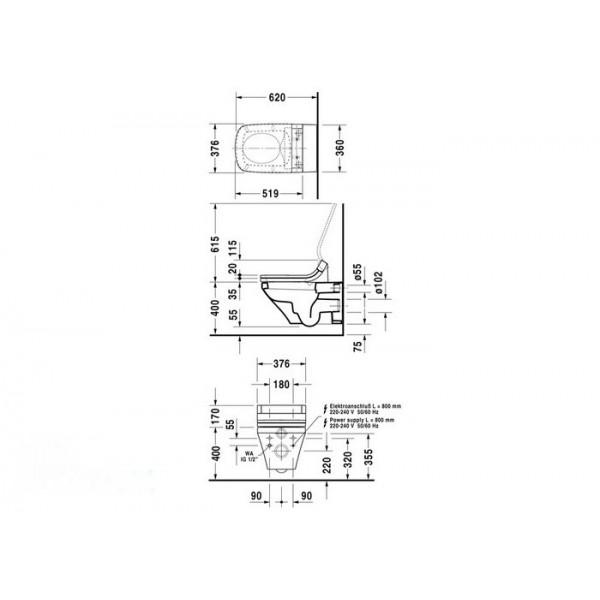 Duravit Унитаз подвесной DuraStyle 25375900001-WG для SENSOWASH