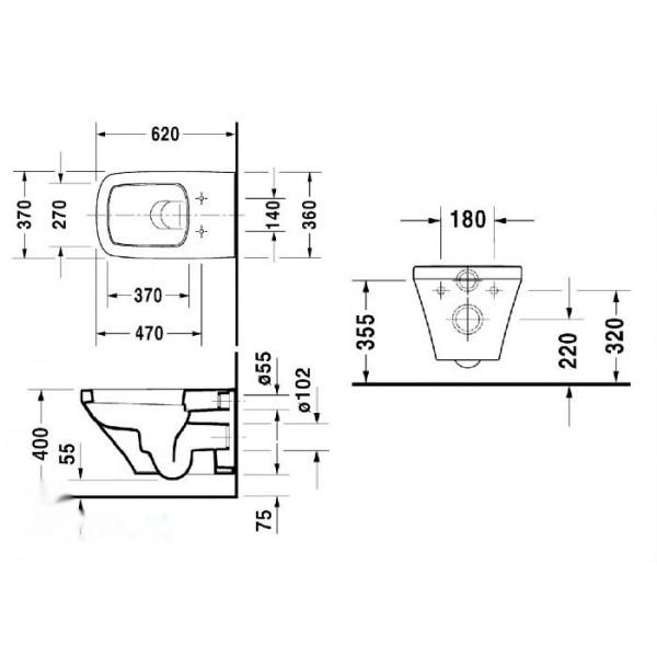 Duravit Унитаз подвесной компакт DuraStyle 25370900001-WG