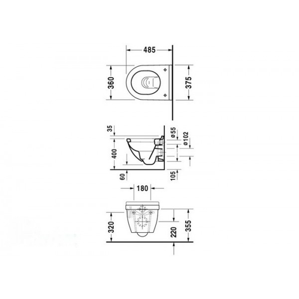Подвесной унитаз Duravit Starck 3 22270900001-WG