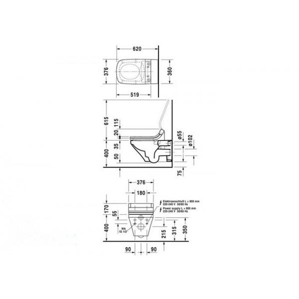 Duravit Унитаз подвесной DuraStyle 2542590000 для SENSOWASH