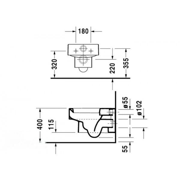 Duravit Унитаз подвесной черный VERO 22170908641-WG