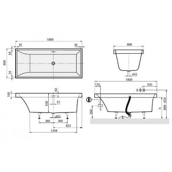 Квариловая ванна Villeroy&Boch Squaro 180x80 UBQ180SQR2V-01